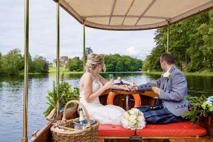 Newlyweds enjoying a boat ride