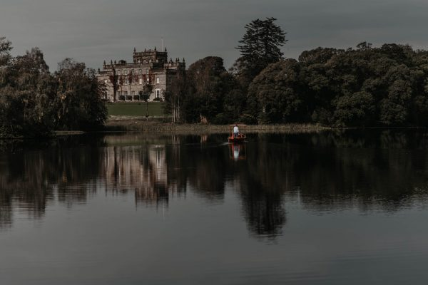 A view of Kinmount castle across the South Lake