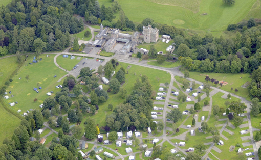 A birds-eye view of Hoddom castle and the surrounding estate