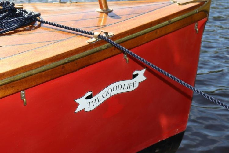A close up of 'The Good Life', name of Kinmount's motorboat