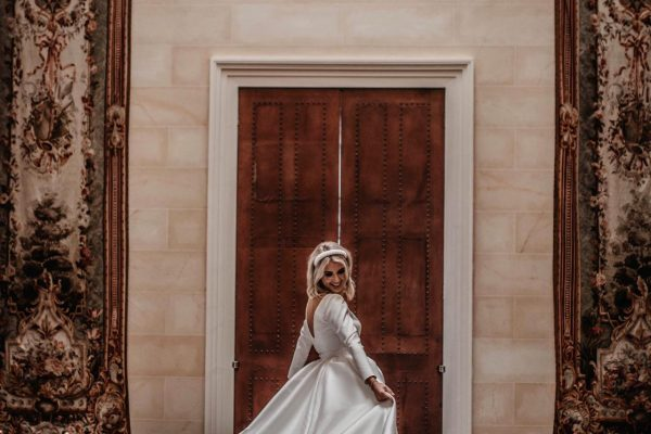 A bride twirling her dress