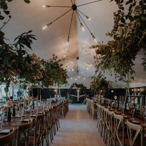 Kinmount Pavillion set for a wedding feast